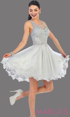 2a0547209 Short high neck silver grade 8 grad puffy dress with gold lace. This light  gray. Silver Dama DressesSweet 16 ...