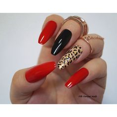 Red Coffin Nails, Animal Print, Stiletto nails, Fake nails, Kylie... ❤ liked on Polyvore featuring beauty products, nail care and nail treatments