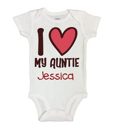 "Custom Cute Baby Onesie  "" I heart My Auntie, Insert Name"" - Kids Love Aunt Collection - Funny Kids Clothing - Long Sleeve Option - 500"