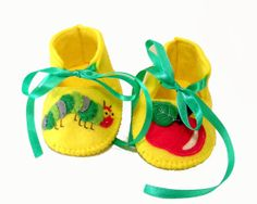 The very hungry caterpillar baby booties by TheCraftyButtonUK, £15.00