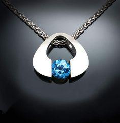 Etsy blue topaz pendant, Swiss blue topaz necklace, Argentium silver, tension set, December birthstone, c