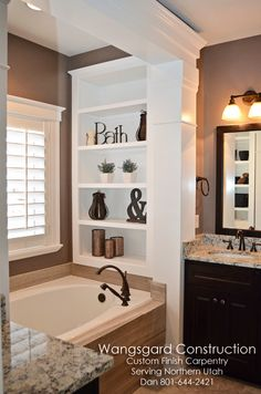 Finish Carpentry Ideas ~ love the shelves in the bath.