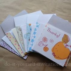 This post has several varieties of free printable thank you cards for every occasion, ranging from child's birthday, wedding showers, or just everyday. Also includes matching printable envelopes.View This Tutorial