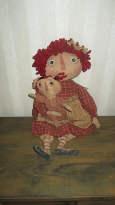 Primitive Raggedy with baby by Bettesbabies on Etsy