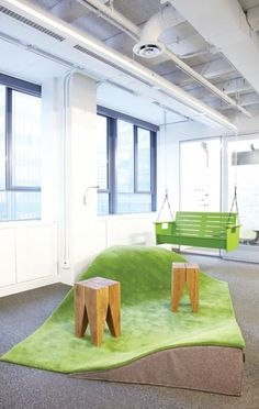 Great Office Spaces: Google The office is flush with kitschy meeting rooms and common areas, like this faux-grass parkette, to encourage staff to get away from their desks.