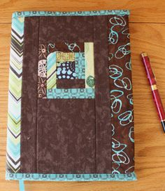 Quilted Fabric Journal Cover Modern Brown Blue and by CandyKQuilts at Etsy.com $28