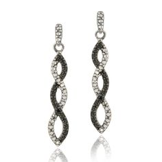 Black+Diamond+Jewelry | 925 Sterling Silver Black Diamond Infinity Earrings