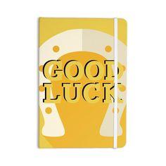 "KESS Original ""Lucky Horseshoe"" Yellow Typography Everything Notebook"