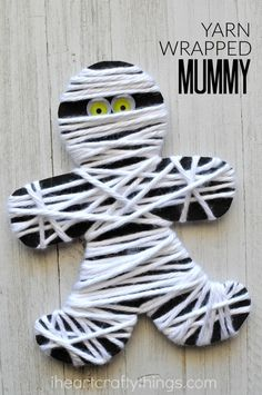 This yarn wrapped mummy craft is perfect for little ones to work on strengthening fine motor muscles and it makes a great Halloween kids craft.
