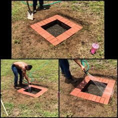 DIY fire pit! Dig a square hole, making sure edges are and bottom are packed tight and level. Dig deep enough so cement blocks are below grass and the bricks are level with the ground. This specific fire pit you will need 8 cement blocks and 32 bricks! Enjoy!!