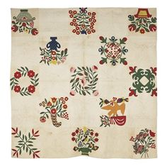 "Baltimore album quilt, mid 19th c., with eagle, cornucopia, & floral panels, 83"" x 83"", Pook & Pook, Live Auctioneers"