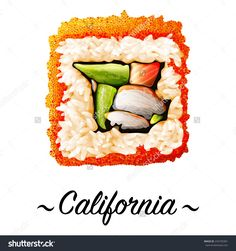 Maki-Zushi California Sushi Roll Containing Crab Meat, Rice, Caviar, Avocado, Cucumber On A White Background. Japanese Cuisine, Traditional Food Icon. Pixel Perfect Isolated Vector Illustration - 243750301 : Shutterstock