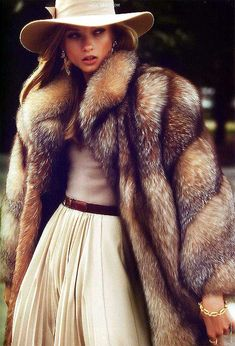 Crystal fox fur coat