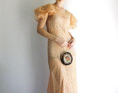 1930s Dress Peach Eyelet Lace Cut-Out Vintage Art Nouveau Gown XS