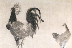 Detail. Rooster and Hen. 伊藤若冲 ITO Jakuchu (1716-1800, Japanese). Fusuma. 1759. Shokokuji Temple. Nara, Japan.