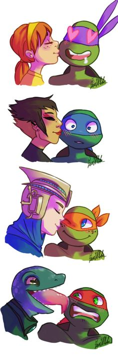 April and Donatello, Karai/Miwa and Leonardo, Renet and Michelangelo, Mona Lisa and Raphael (This is PERFECT! XD)