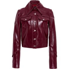 Eleanor Balfour Isa Leather Jacket ($1,395) ❤ liked on Polyvore featuring outerwear, jackets, purple, cropped jackets, long sleeve jacket, purple jacket, leather jackets and fur-collar leather jackets