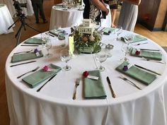 White with hazel napkins. Buffet place setting.