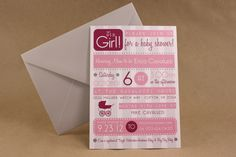 IT'S A GIRL -- Baby Shower Invitation, Feminine and Fun