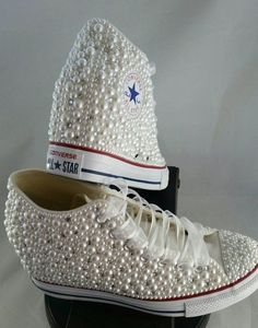 Wedge Bridal Converse- Wedding Converse- Bling & Pearls Custom Converse Sneakers- Personalized Chuck Taylors- All Star Converse Sneakers by DivineUnlimited on Etsy