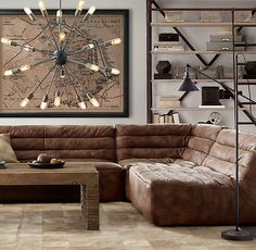 Chelsea Leather Square Corner Sectional-RH