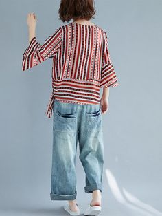 Estilo Popular, Frocks For Girls, Folk Fashion, Cheap Blouses, Mod Dress, V Neck Blouse, Stripe Print, Clothes For Sale, Clothing Patterns