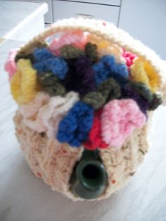 Tea pot Cosy hand knitted Basket of flowers by LhasoodleCrafts