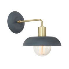 Cedar & Moss Terra Sconce. Shown in midnight blue ceramic color and brass finish.