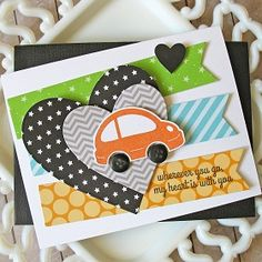 Wherever You Go by Kathy Martin for #CardMaker using Reverse Confetti's Here We Go stamps and Confetti Cuts and Bella Blvd's Baby Boy collection.