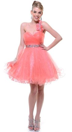 Coral Prom Dress Short Single One Shoulder Flower Strap Jewel Waist $177.99