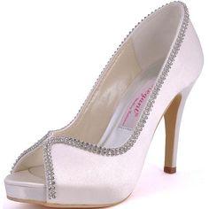 806058aeafc2 ElegantPark Women Peep Toe Rhinestones Platform High Heel Satin Wedding  Evening Dress Pumps Ivory US 8