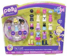 Polly Pocket Pollyworld Pop N Lock Fashion Pack by Mattel. $19.99. Easy-to-dress and fun to play with. Polly Pocket Pollyworld Pop 'N Lock Fashion Pack. Features Polly and friends with lots of Pop 'n Lock fashions. Two-piece fashions come together in a snap. Works with or without the Transformin' Popstar Stage. From the Manufacturer Polly Pocket Pollyworld Pop 'N Lock Fashion Pack: This assortment features Polly and friends with lots of Pop 'n Lock fa...