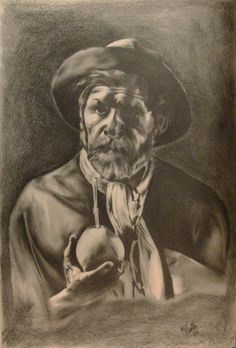Pencil drawing of a traditional Gaucho. Gaucho, Yerba Mate, Where The Heart Is, Art Boards, Pencil Drawings, Native American, First Love, African, Traditional