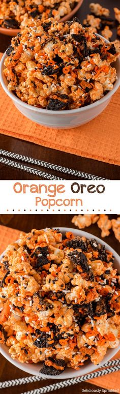 Halloween Orange Oreo Popcorn, perfect snack for a Halloween Party that everyone will love! #fall #halloween #popcorn #oreos #recipe