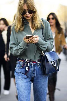 5 Unstuffy Ways To Wear A Silk Scarf - Fashion : Tips + Advice outfit belt Ways To Wear A Scarf, How To Wear Scarves, Star Fashion, Fashion Outfits, Womens Fashion, Fashion Tips, Fashion Scarves, Fashion Fashion, 1950s Fashion