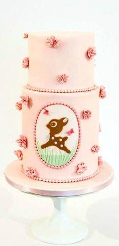 Pink Bambi Birthday Cake