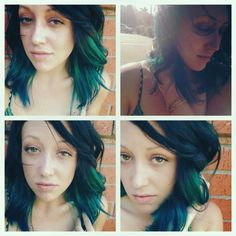 splat Aqua Rush, black and green hair.