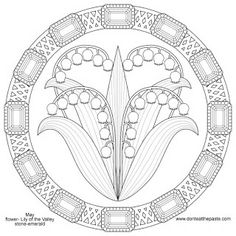 Flower Mandala Coloring Pages | Lily of the valley and emerald mandala for May