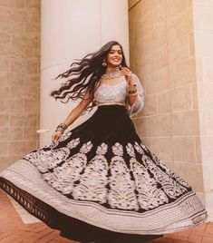 Black Silver Embroidered Wedding Lehenga by Poonams Kaurture. #Frugal2Fab Dress Indian Style, Indian Dresses, Indian Outfits, Indian Wear, Western Dresses For Girl, Bridal Dresses, Girls Dresses, Bridal Makeover, Lehenga Collection