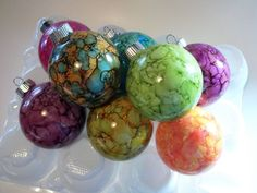 Alcohol Ink Christmas Ornaments