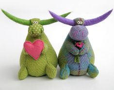green and purple bulls