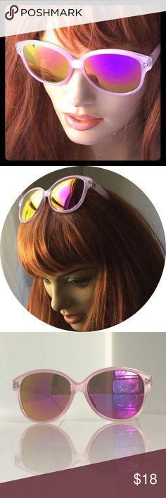 """Cat Eye Mirrored Sunglasses Pink w revo lenses Fabulous pastel pink frames with iridescent revo lenses in shades of Hot pink, gold and orange, with a little chartreuse around the edges. Frames measure 6"""" across / Lenses are 2.25"""" x 2.5"""" / temple is 4.5"""" to ear / bridge is approx 18mm. Please keep in mind, I shoot mirrored lenses against a white bounce board when possible, so you can see what they look like to others when you are out in the sun. Accessories Sunglasses"""