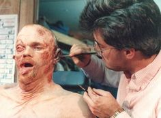 This is one of Rob Bottin's assistants applying the finishing touches on the poor bastard (Emil) that was covered with the Toxic Waste in ROBOCOP Movie Makeup, Fx Makeup, Scary Makeup, Pet Sematary, Horror Makeup, Peter Weller, Paul Verhoeven, Special Effects Makeup, Prosthetic Makeup