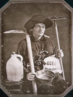Gold Rush Prospector, California daguerreotype of California gold rush miner with his tools. Wild West, Old Pictures, Old Photos, Moving Pictures, Vintage Photographs, Vintage Photos, Vintage Ads, Gold Miners, Saloon