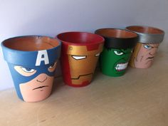 hand painted #Avengers flower pots. #IronMan #CaptainAmerica