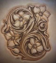 Leather Carving, Leather Art, Leather Tooling, Breast Cancer Crafts, Leather Working Patterns, Art Nouveau Design, Leather Pattern, Wood Sculpture, Flower Patterns