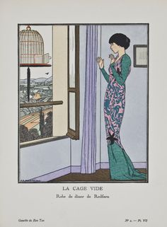 """La Cage Vide - Robe de dîner de Redfern,"" André-Edouard Marty, December 1912. Published from 1912 to 1925, ""La Gazette du Bon Ton"" was an iconic French fashion magazine started by Lucien Vogel. His goal was to emphasize the connection between fashion and art, and maintain a distinct and elitist image. Exquisite and vibrant fashion plates featuring women's clothing were created by modern artists of the period."