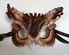 Screech Owl Leather Mask by LibertiniArts on Etsy, $115.00