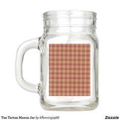 Tan Tartan Mason Jar