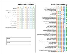 Chore Chart for teens